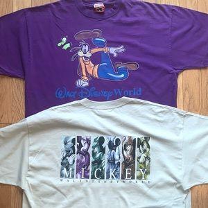 Lot Bundle of 2 Disney T-shirts Mickey & Goofy XXL